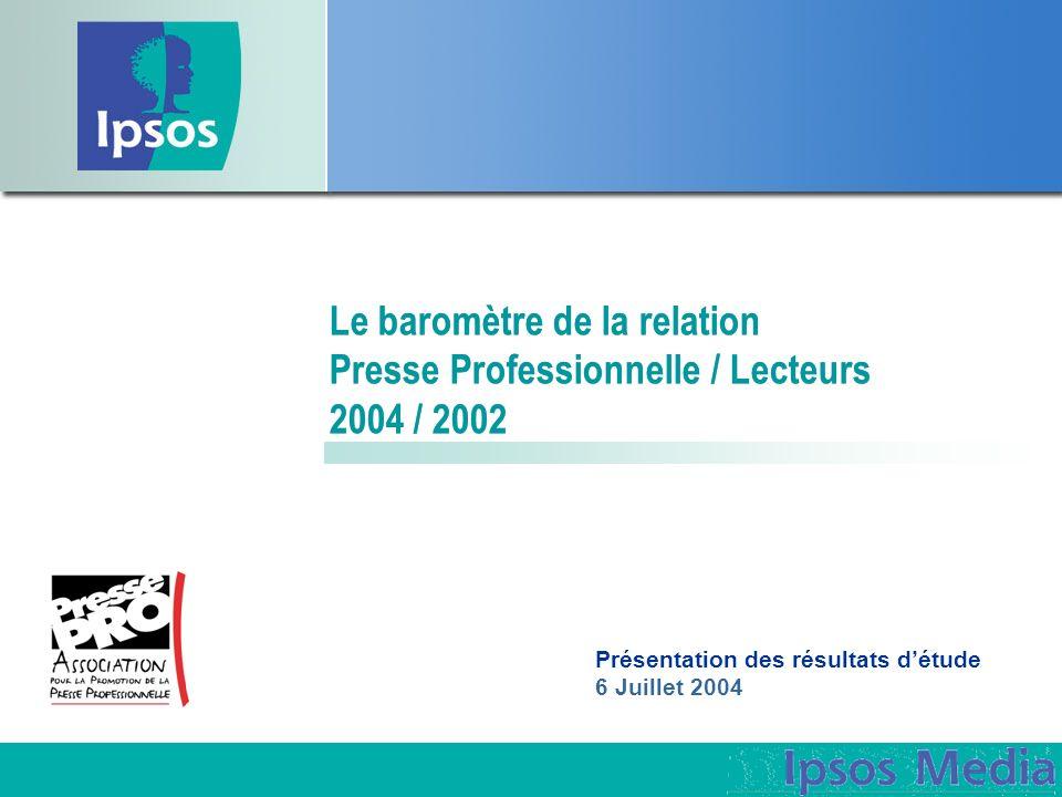 Le baromètre de la relation Presse Professionnelle / Lecteurs 2004 / 2002 Présentation des résultats détude 6 Juillet 2004