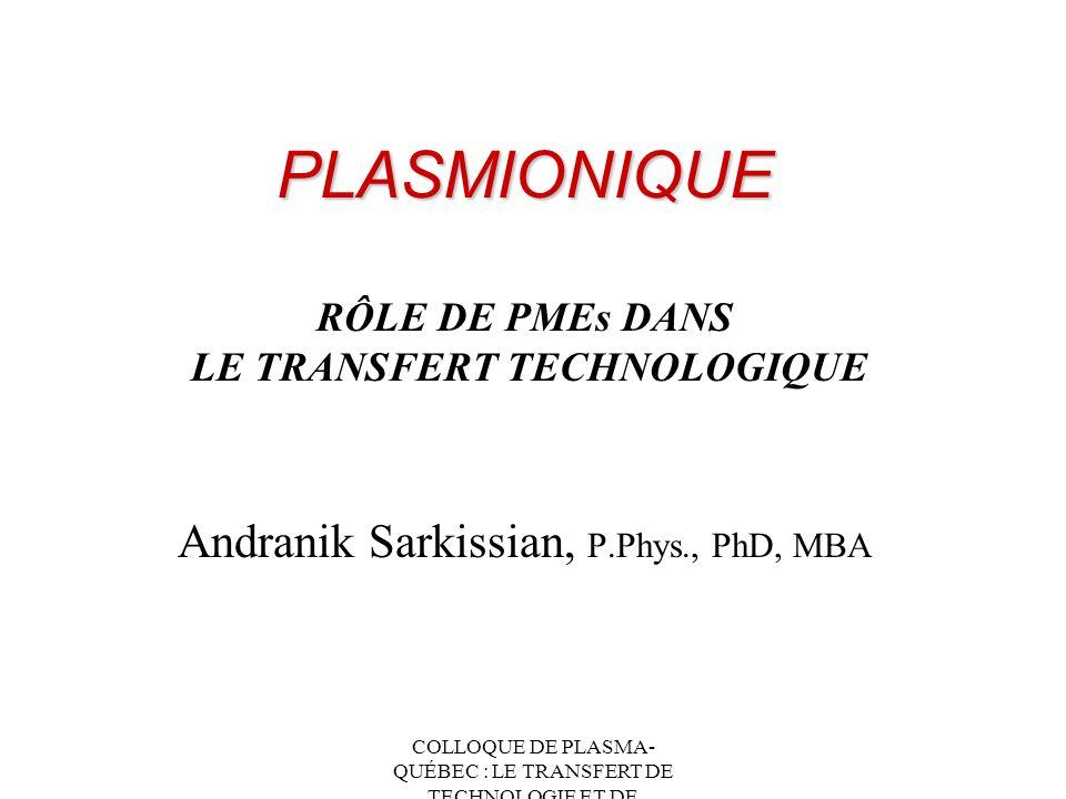 COLLOQUE DE PLASMA- QUÉBEC : LE TRANSFERT DE TECHNOLOGIE ET DE CONNAISSANCES Plasmionique Inc Une Histoire Typique de PE Circonstances ou occasions (fermeture de TdeV) + Choix -----> Decision (Plasmionique Inc) Besoin dun Catalyseur (INRS) Lespace de laboratoire Infrastructure (paie pour lutilisation) Accès au personnel technique au besoin Interaction avec d autres scientifiques, etc...