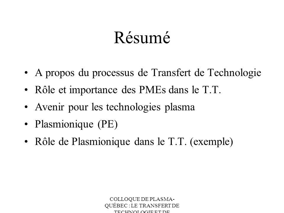 COLLOQUE DE PLASMA- QUÉBEC : LE TRANSFERT DE TECHNOLOGIE ET DE CONNAISSANCES Résumé A propos du processus de Transfert de Technologie Rôle et importan