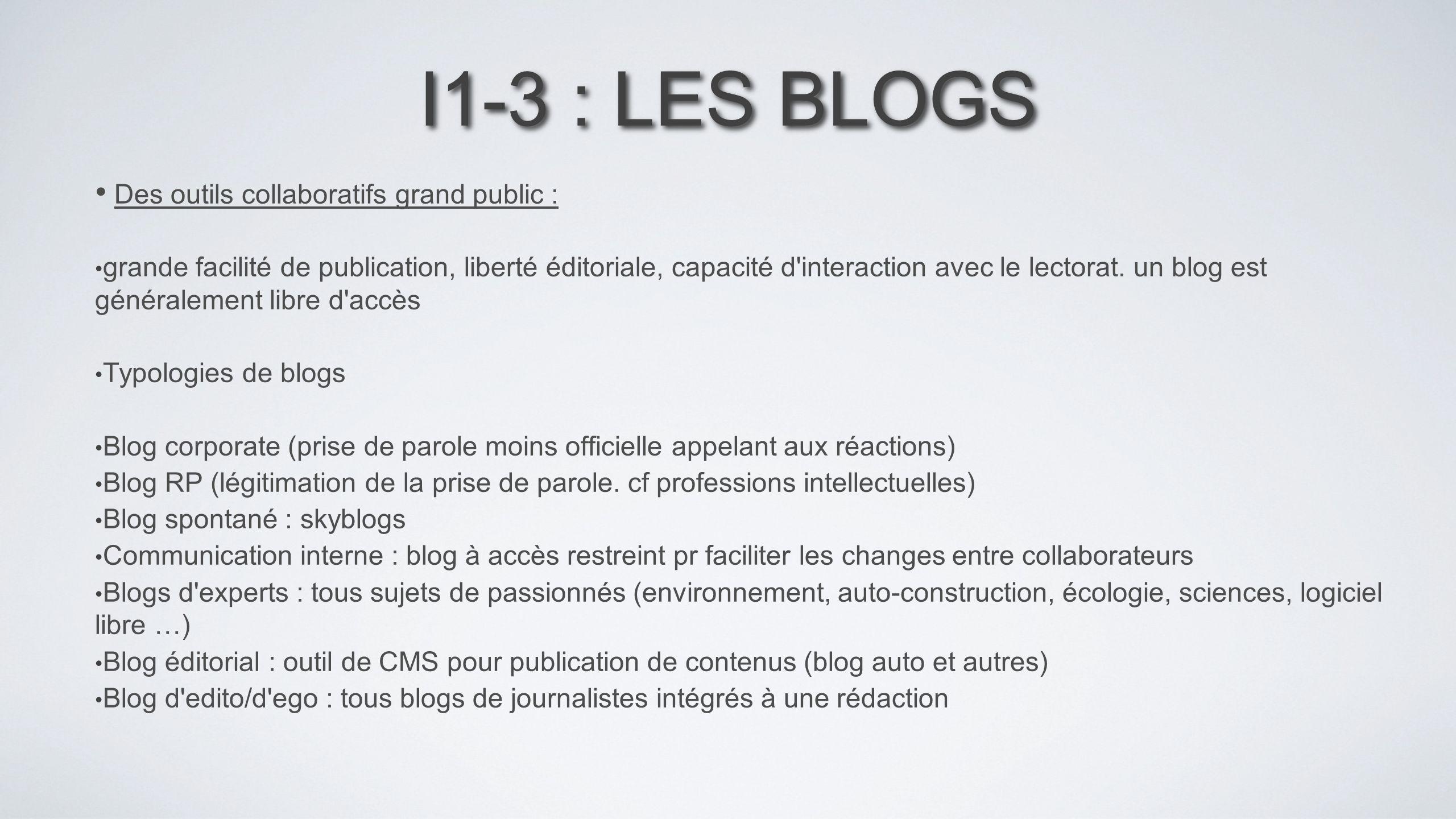 I1-3 : LES BLOGS Des outils collaboratifs grand public : grande facilité de publication, liberté éditoriale, capacité d'interaction avec le lectorat.