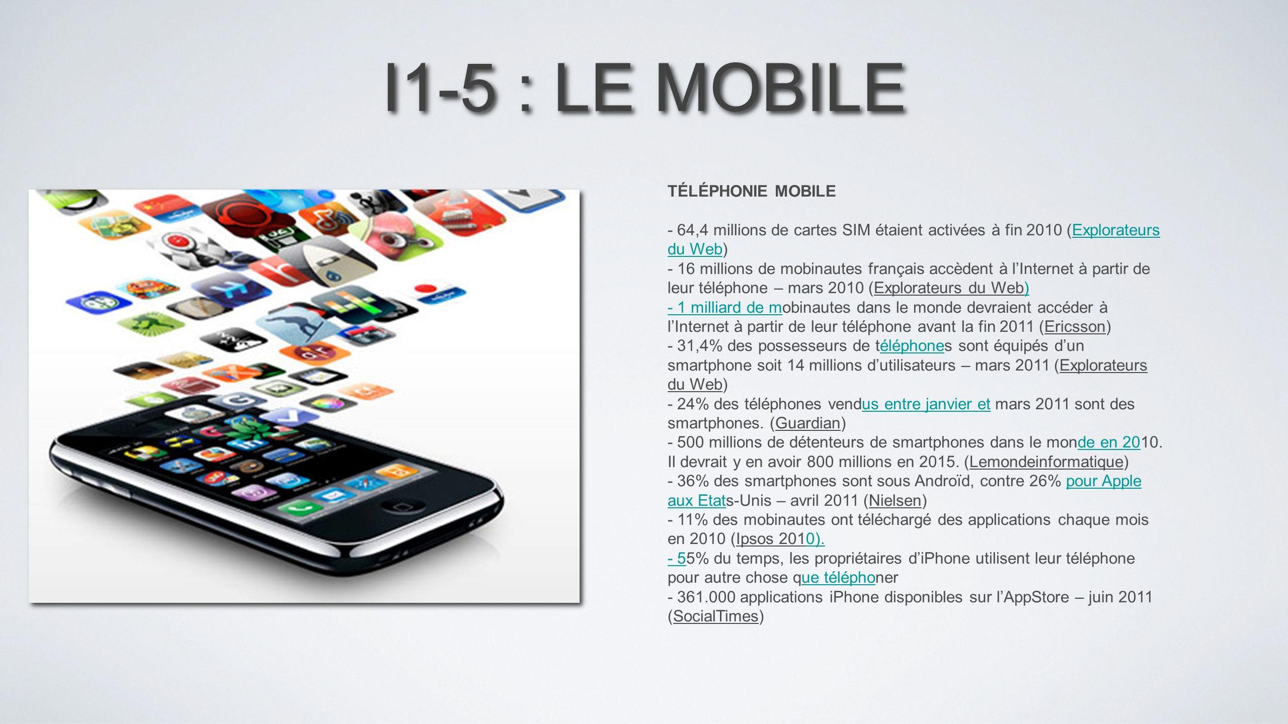 I1-5 : LE MOBILE TÉLÉPHONIE MOBILE - 64,4 millions de cartes SIM étaient activées à fin 2010 (Explorateurs du Web)Explorateurs du Web - 16 millions de