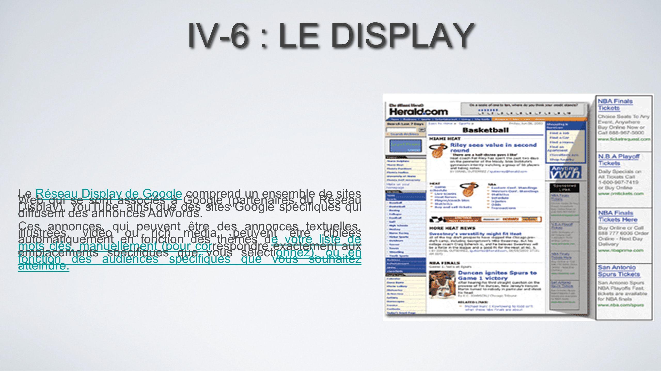 IV-6 : LE DISPLAY Le Réseau Display de Google comprend un ensemble de sites Web qui se sont associés à Google (partenaires du Réseau Display), YouTube
