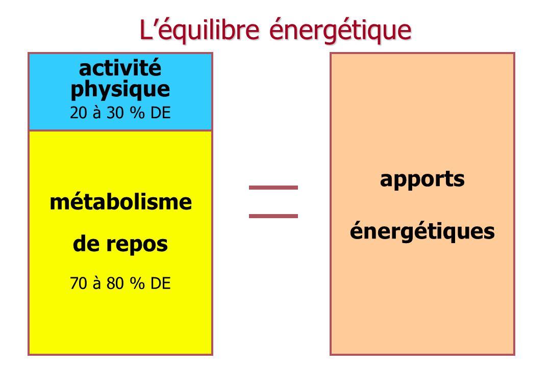 Activité physique et équilibre énergétique 1900 1950 2000 Seuil déquilibre énergétique Dépense énergétique Apports caloriques Activité physique = variable dajustement de léquilibre énergétique !!.