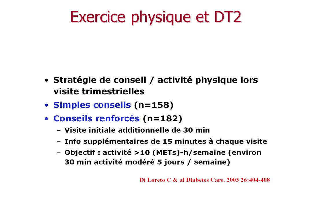 DT2, exercice et coûts Di Loretto C, Diabetes Care, 2005; 28: 1295 $/an/pt