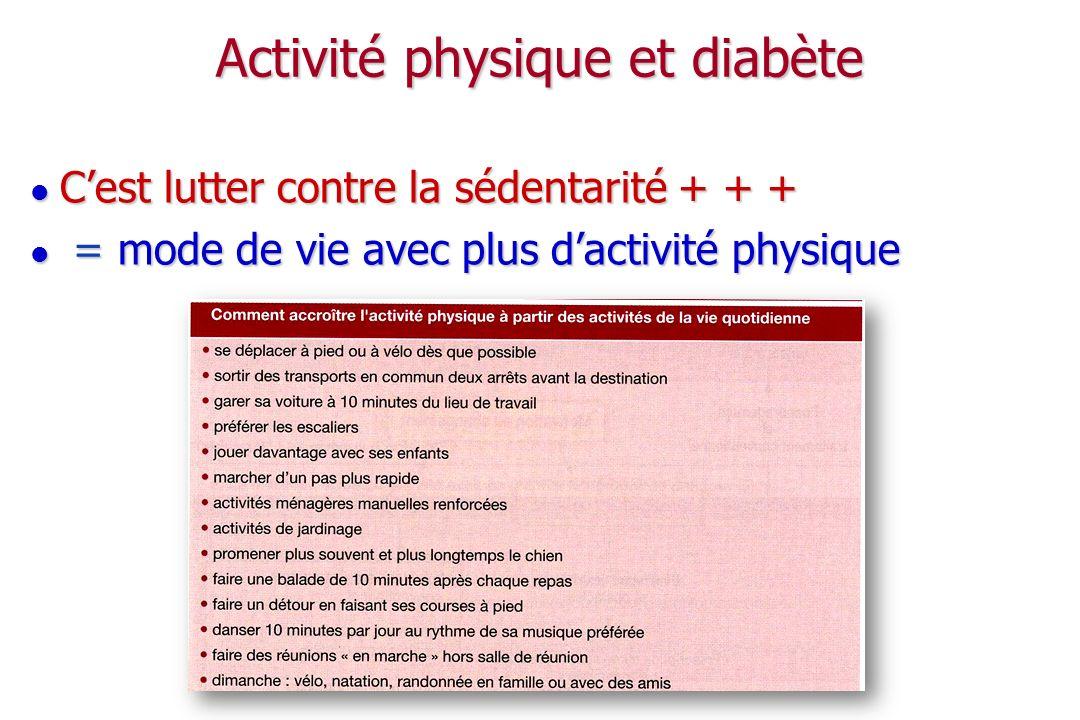Mesures hygiéno-diététiques et diabète Lexercice physique La diététique La réduction du poids