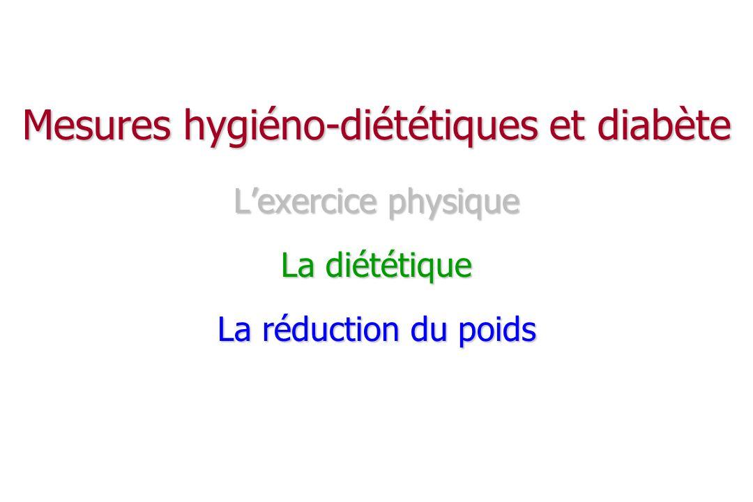 Le poids Lutter contre la surcharge pondérale Lutter contre la surcharge pondérale insulino-résistance insulino-résistance améliore d autres FR CV: TA, CT, LDL, TG améliore d autres FR CV: TA, CT, LDL, TG perte de qqes kg suffit (~ 4 kg) : T adipeux péri-viscéral perte de qqes kg suffit (~ 4 kg) : T adipeux péri-viscéral L apport calorique : L apport calorique : hypocalorique si surcharge pondérale hypocalorique si surcharge pondérale normocalorique en son absence normocalorique en son absence place des VLCD .