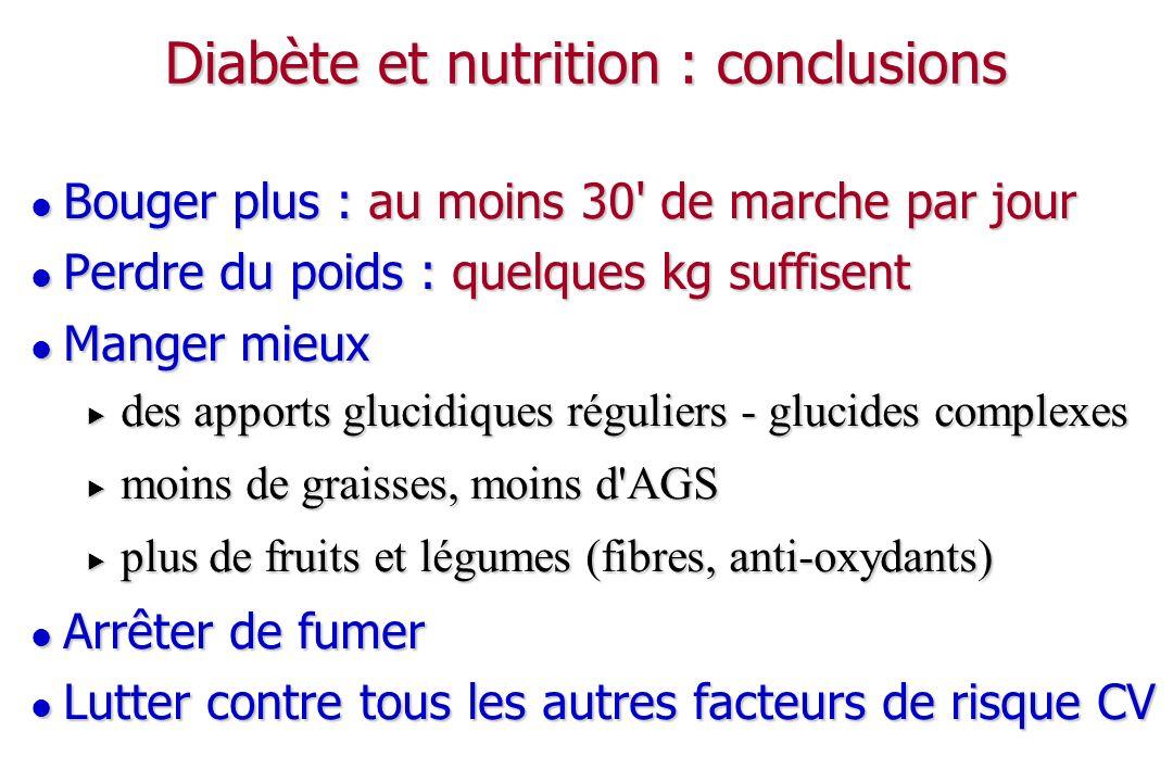 Diabète et nutrition : conclusions Bouger plus : au moins 30' de marche par jour Bouger plus : au moins 30' de marche par jour Perdre du poids : quelq