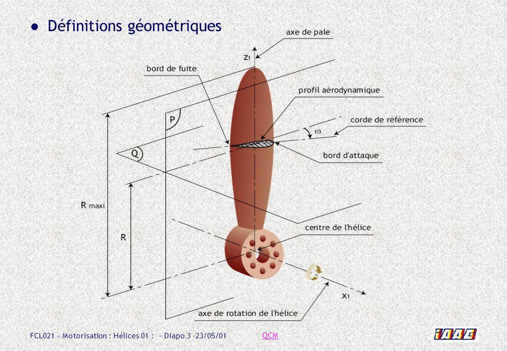 FCL021 - Motorisation : Hélices 01 : - Diapo 3 -23/05/01 Définitions géométriques QCM