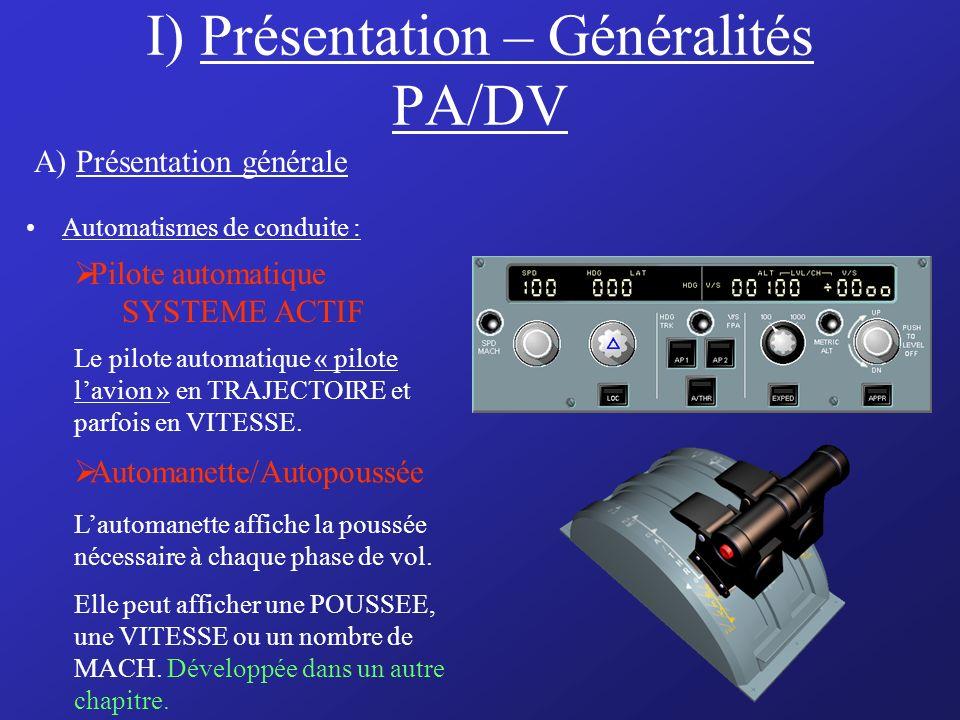 I) Présentation – Généralités PA/DV Automatismes de conduite : Pilote automatique SYSTEME ACTIF Automanette/Autopoussée Lautomanette affiche la poussée nécessaire à chaque phase de vol.