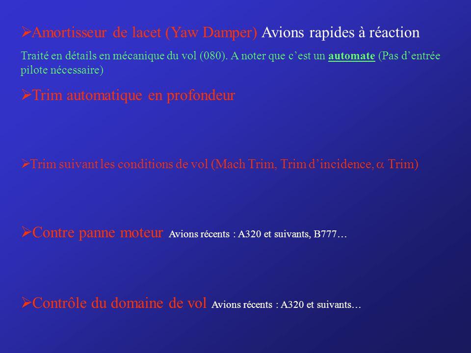Amortisseur de lacet (Yaw Damper) Avions rapides à réaction Traité en détails en mécanique du vol (080).