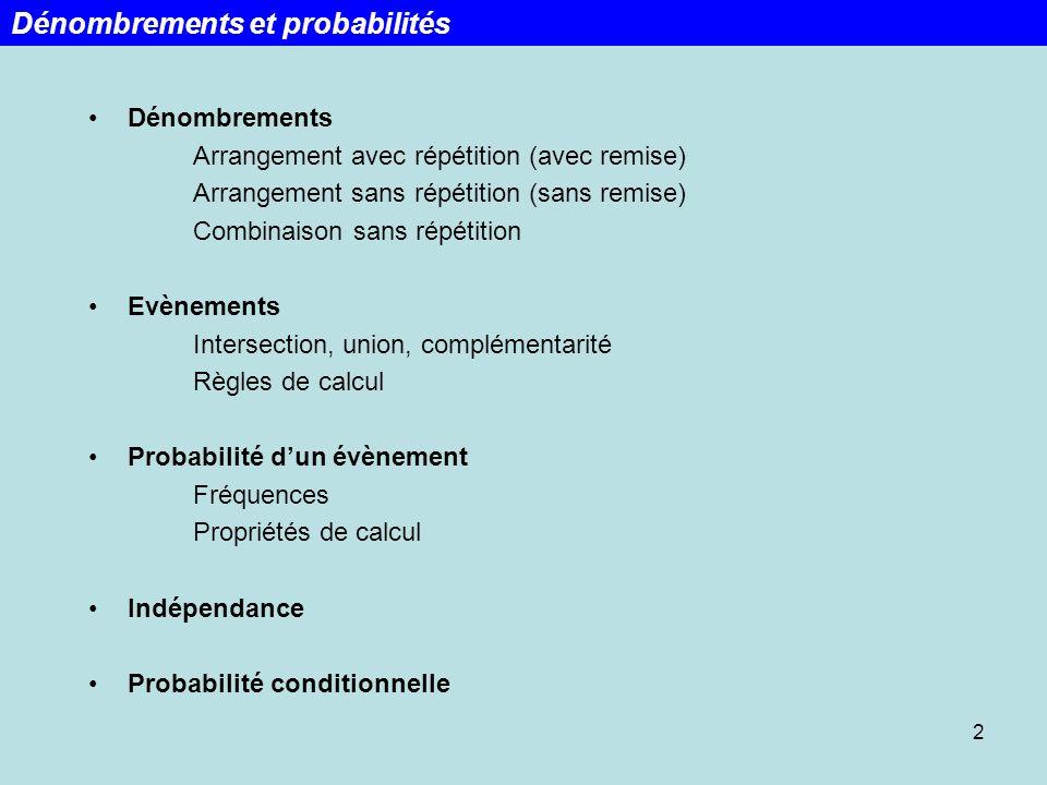 Probabilités conditionnelles: Si A et B sont deux évènements, la probabilité conditionnelle de A étant donné B indique la probabilité que A se produise sachant que B sest déjà produit, noté P(A B) ou P B (A).