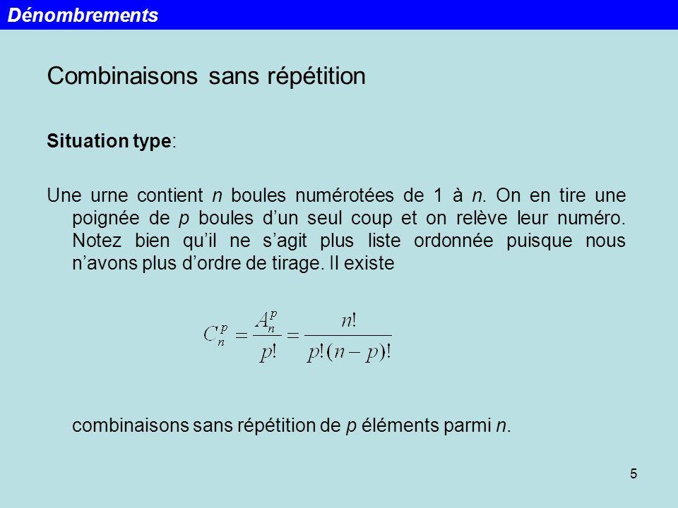 5 Combinaisons sans répétition Situation type: Une urne contient n boules numérotées de 1 à n. On en tire une poignée de p boules dun seul coup et on