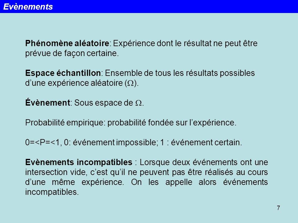 7 Evènements Phénomène aléatoire: Expérience dont le résultat ne peut être prévue de façon certaine. Espace échantillon: Ensemble de tous les résultat