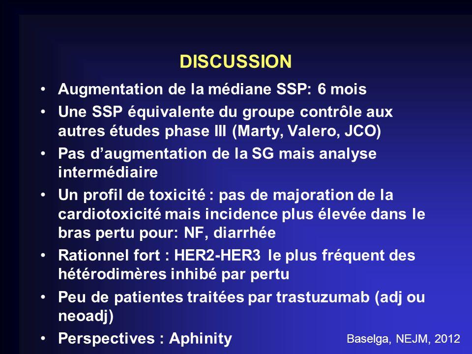 DISCUSSION Augmentation de la médiane SSP: 6 mois Une SSP équivalente du groupe contrôle aux autres études phase III (Marty, Valero, JCO) Pas daugment