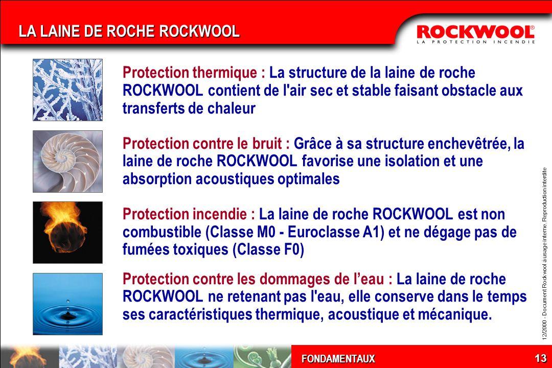 12/2000 - Document Rockwool à usage interne. Reproduction interdite FONDAMENTAUX 13 LA LAINE DE ROCHE ROCKWOOL Protection thermique : La structure de