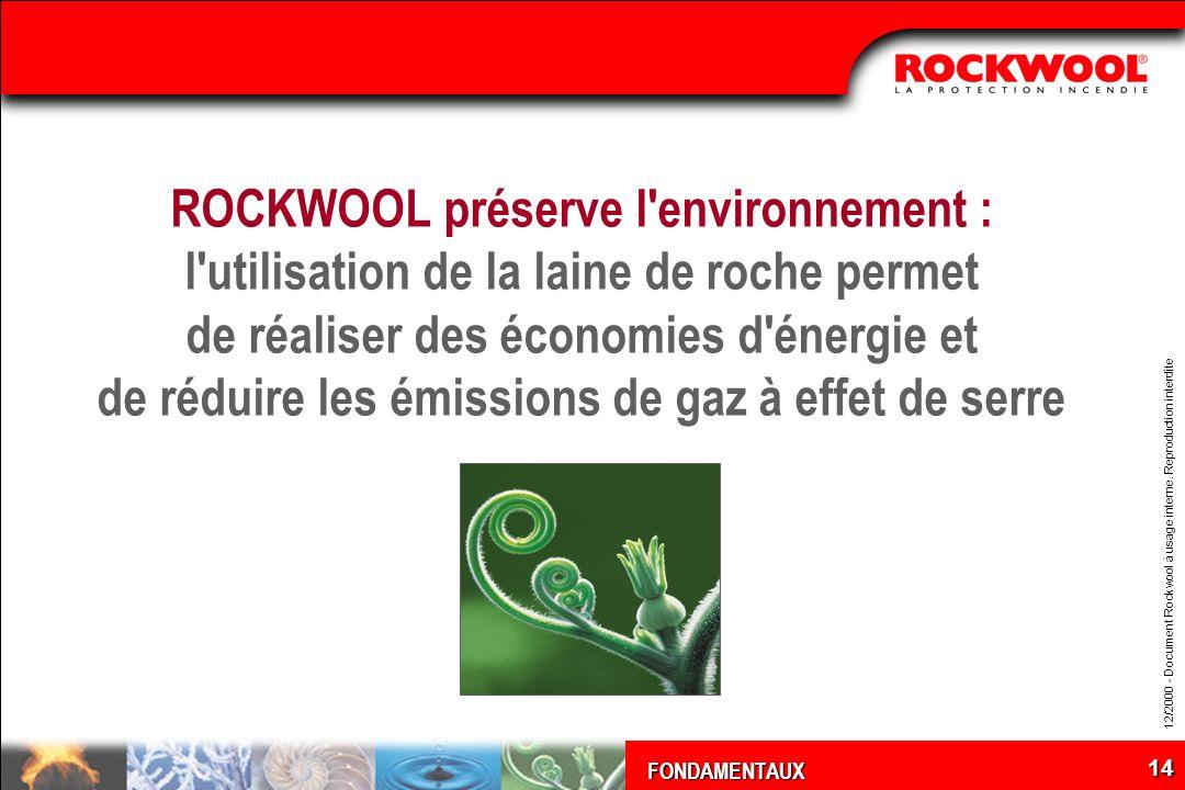 FONDAMENTAUX 12/2000 - Document Rockwool à usage interne. Reproduction interdite 14 ROCKWOOL préserve l'environnement : l'utilisation de la laine de r