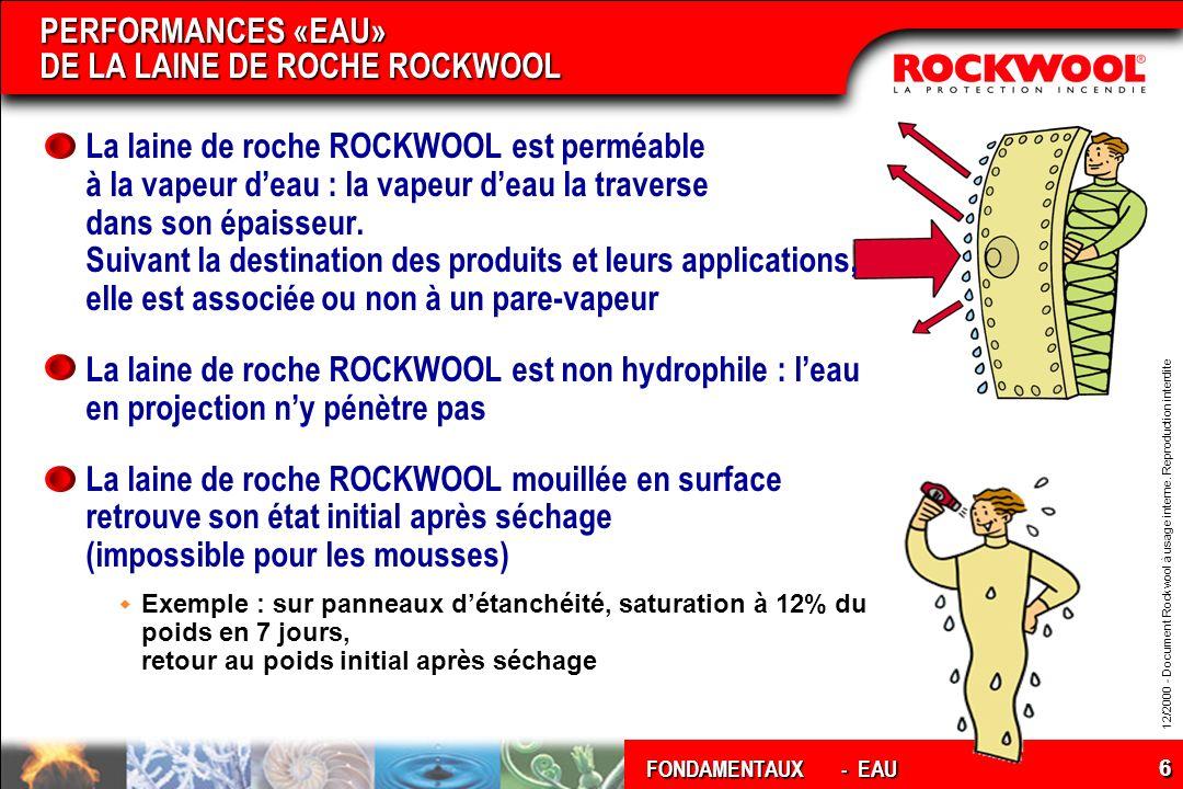 12/2000 - Document Rockwool à usage interne. Reproduction interdite FONDAMENTAUX 6 PERFORMANCES «EAU» DE LA LAINE DE ROCHE ROCKWOOL La laine de roche