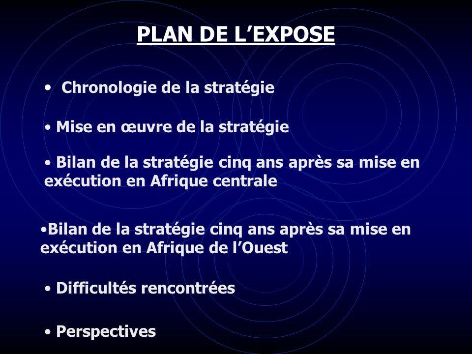 PLAN DE LEXPOSE Chronologie de la stratégie Mise en œuvre de la stratégie Bilan de la stratégie cinq ans après sa mise en exécution en Afrique central