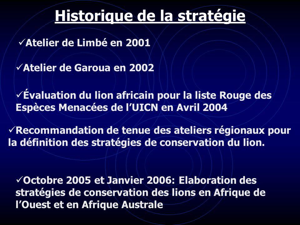 Historique de la stratégie Atelier de Limbé en 2001 Atelier de Garoua en 2002 Évaluation du lion africain pour la liste Rouge des Espèces Menacées de