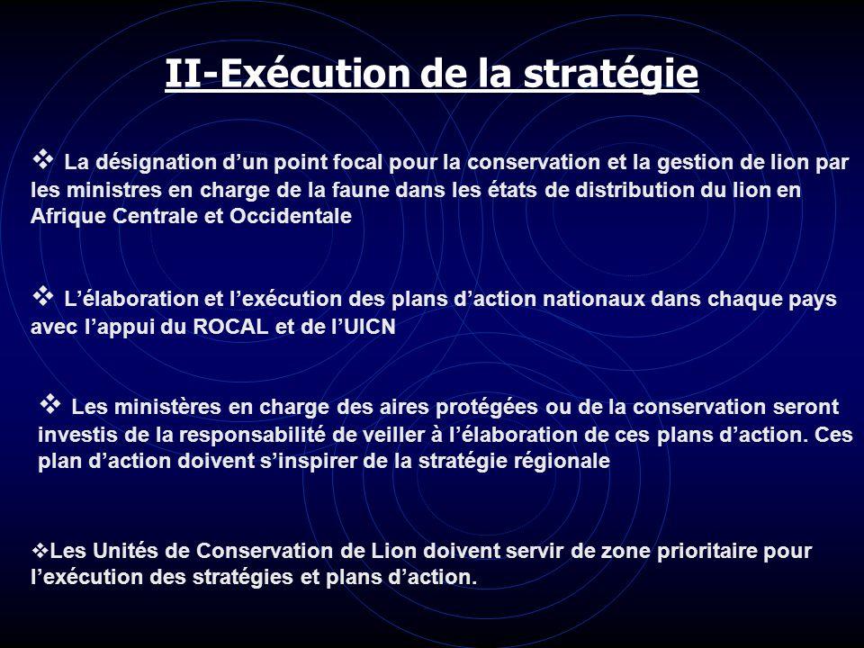 II-Exécution de la stratégie La désignation dun point focal pour la conservation et la gestion de lion par les ministres en charge de la faune dans le