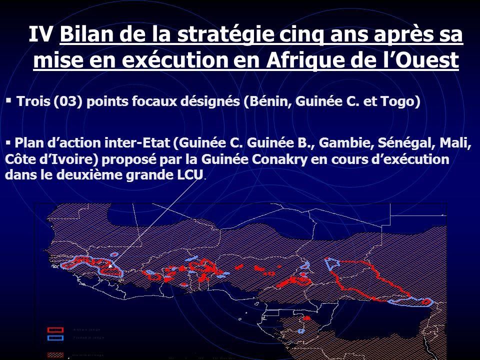 IV Bilan de la stratégie cinq ans après sa mise en exécution en Afrique de lOuest Trois (03) points focaux désignés (Bénin, Guinée C. et Togo) Plan da