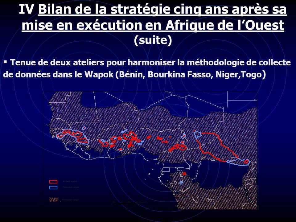 IV Bilan de la stratégie cinq ans après sa mise en exécution en Afrique de lOuest (suite) Tenue de deux ateliers pour harmoniser la méthodologie de co