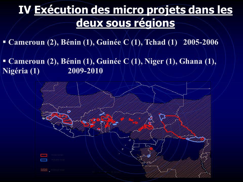 IV Exécution des micro projets dans les deux sous régions Cameroun (2), Bénin (1), Guinée C (1), Tchad (1) 2005-2006 Cameroun (2), Bénin (1), Guinée C
