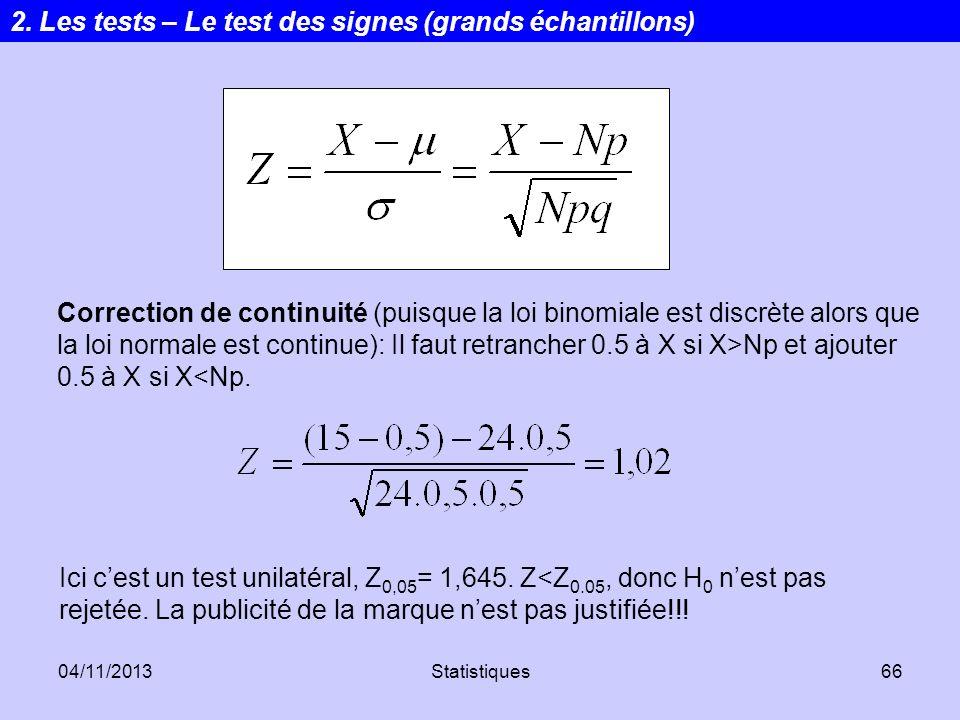04/11/2013Statistiques66 Correction de continuité (puisque la loi binomiale est discrète alors que la loi normale est continue): Il faut retrancher 0.
