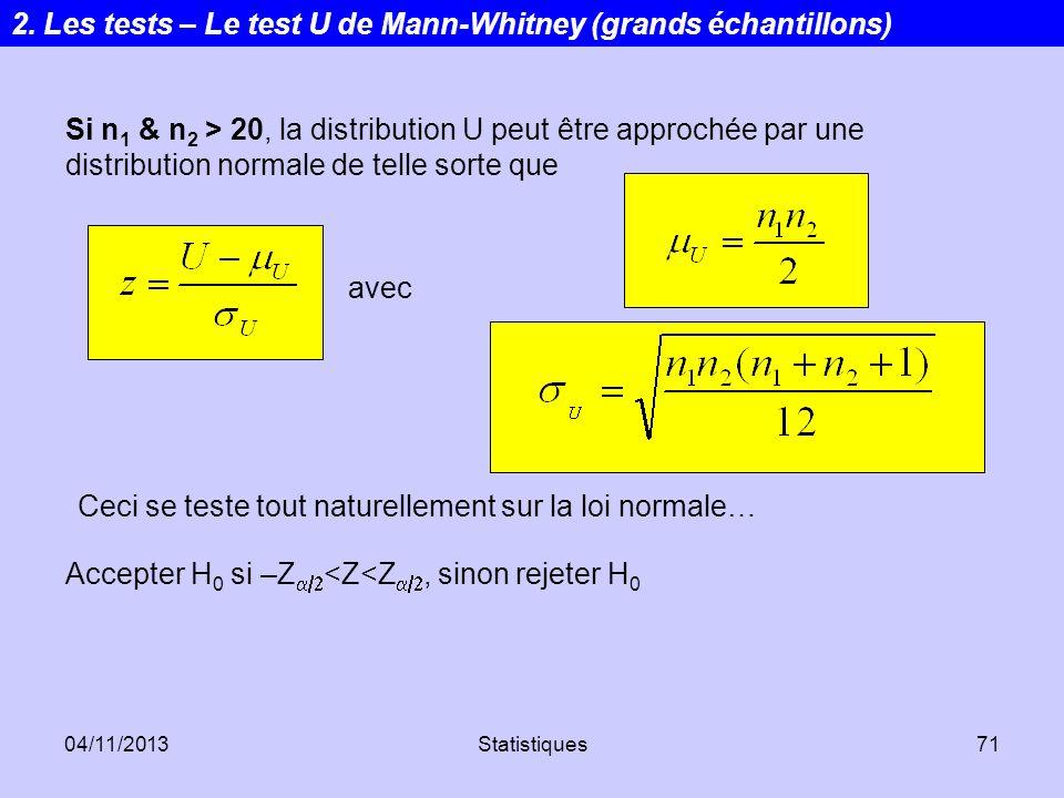 04/11/2013Statistiques71 Si n 1 & n 2 > 20, la distribution U peut être approchée par une distribution normale de telle sorte que Ceci se teste tout n