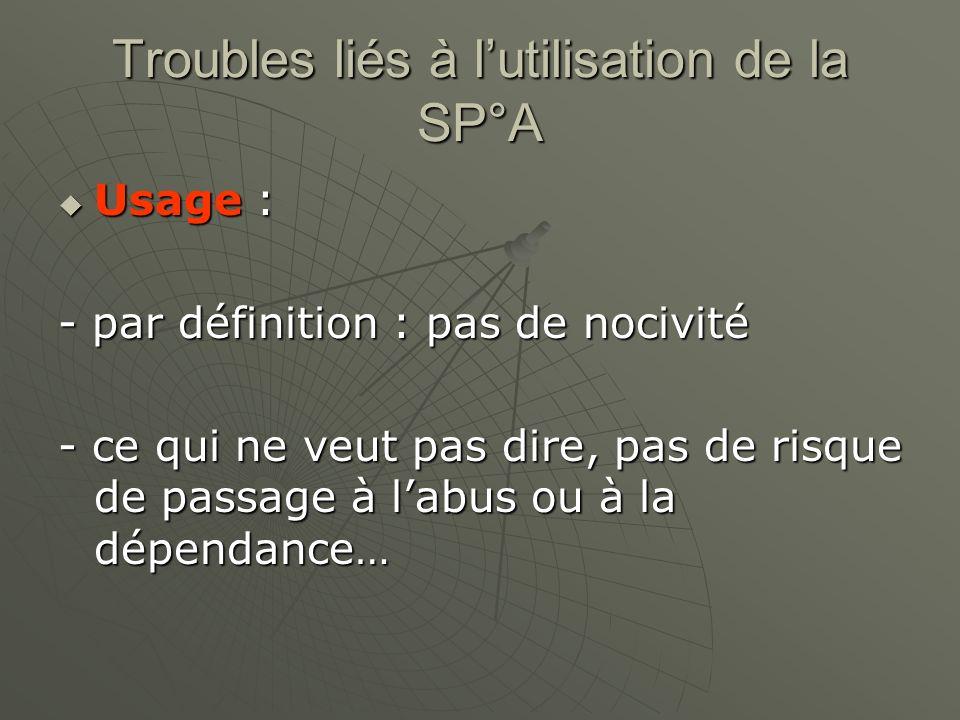 Troubles liés à lutilisation de la SP°A Usage : Usage : - par définition : pas de nocivité - ce qui ne veut pas dire, pas de risque de passage à labus