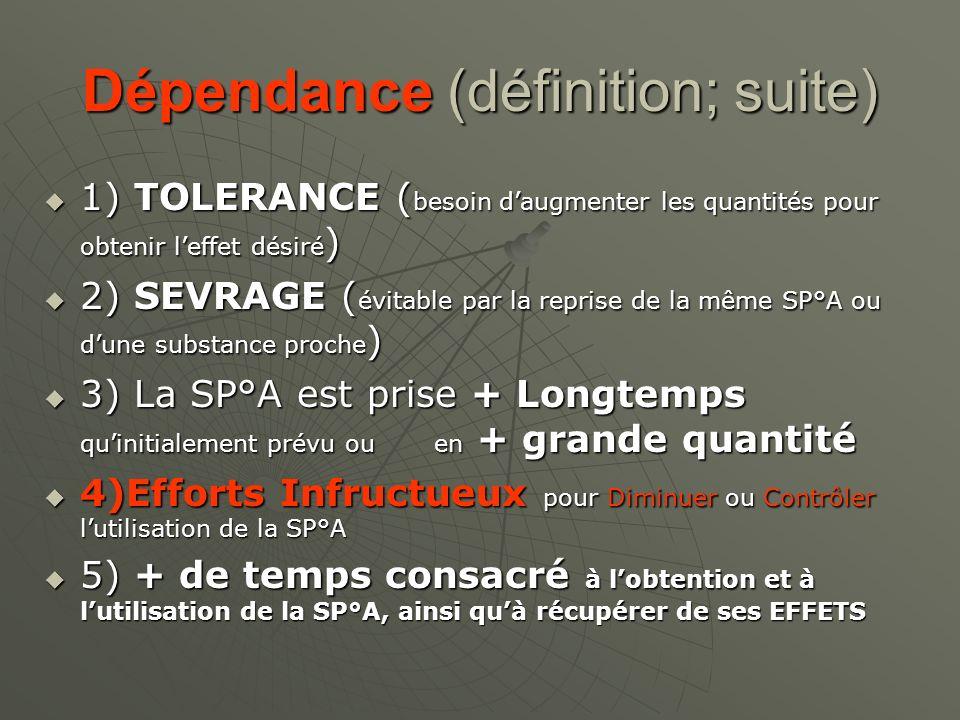Dépendance (définition; suite) 1) TOLERANCE ( besoin daugmenter les quantités pour obtenir leffet désiré ) 1) TOLERANCE ( besoin daugmenter les quanti