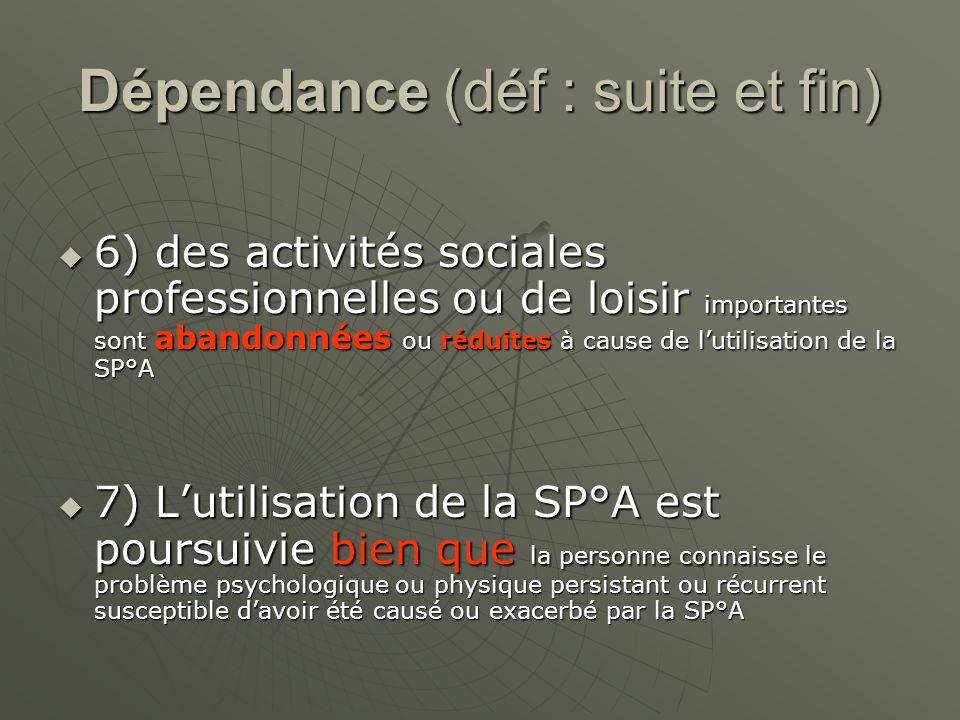 Dépendance (déf : suite et fin) 6) des activités sociales professionnelles ou de loisir importantes sont abandonnées ou réduites à cause de lutilisati