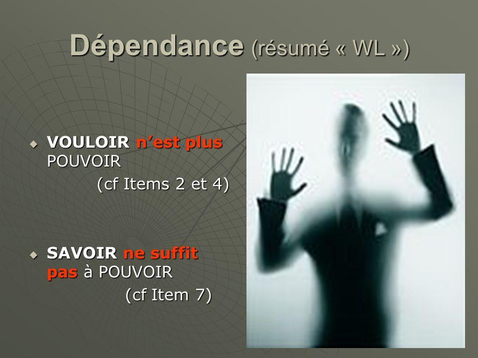 Dépendance (résumé « WL ») VOULOIR nest plus POUVOIR VOULOIR nest plus POUVOIR (cf Items 2 et 4) (cf Items 2 et 4) SAVOIR ne suffit pas à POUVOIR SAVO
