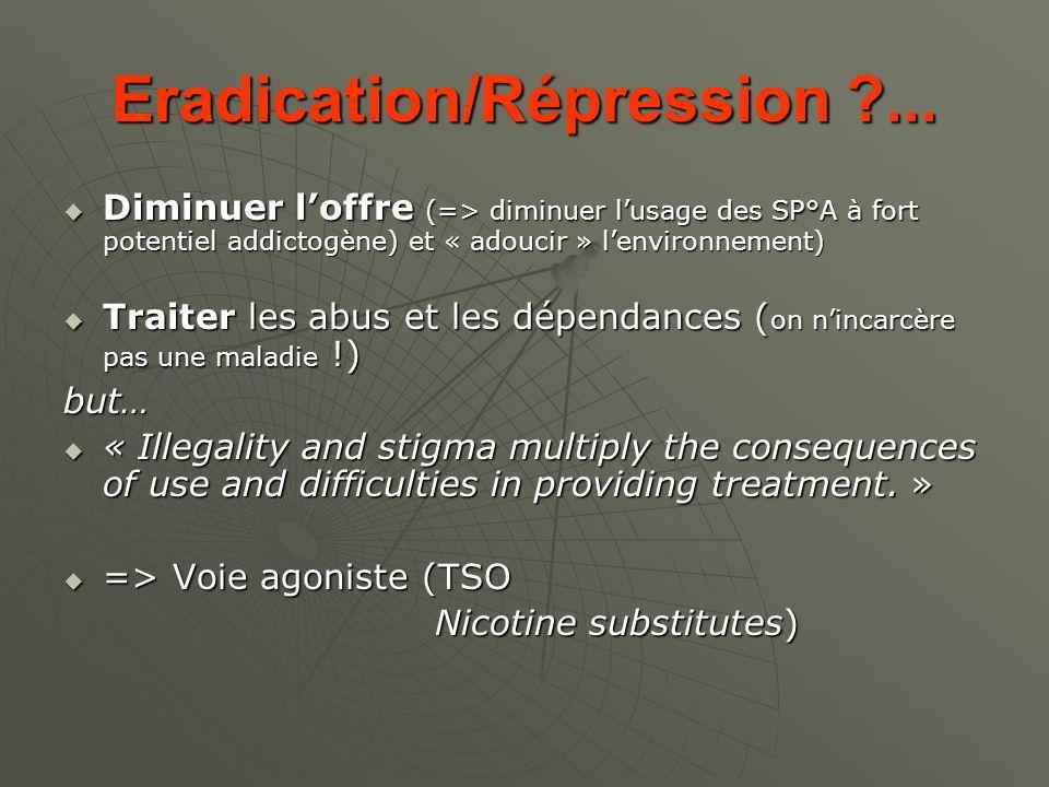 Eradication/Répression ?... Diminuer loffre (=> diminuer lusage des SP°A à fort potentiel addictogène) et « adoucir » lenvironnement) Diminuer loffre