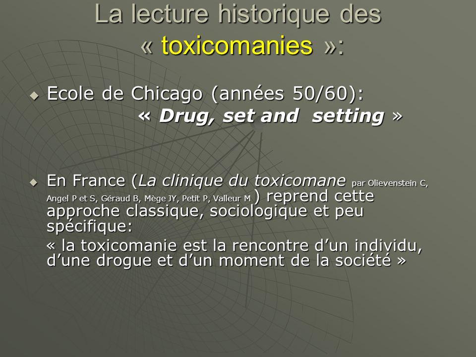 La lecture historique des « toxicomanies »: Ecole de Chicago (années 50/60): Ecole de Chicago (années 50/60): « Drug, set and setting » « Drug, set an