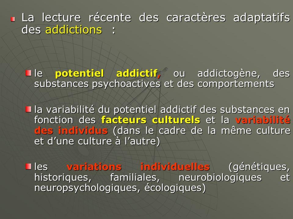 La lecture récente des caractères adaptatifs des addictions : le potentiel addictif, ou addictogène, des substances psychoactives et des comportements