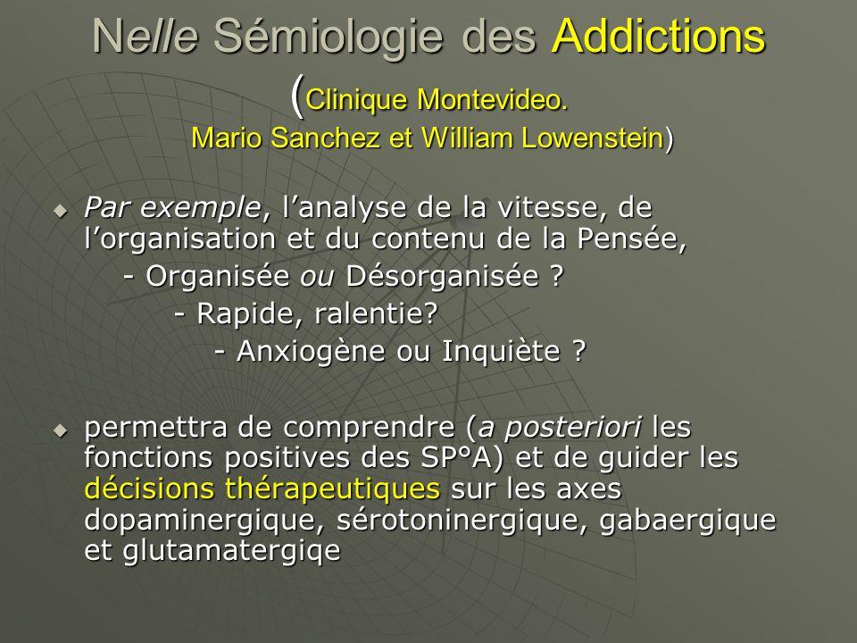 Nelle Sémiologie des Addictions ( Clinique Montevideo. Mario Sanchez et William Lowenstein) Par exemple, lanalyse de la vitesse, de lorganisation et d