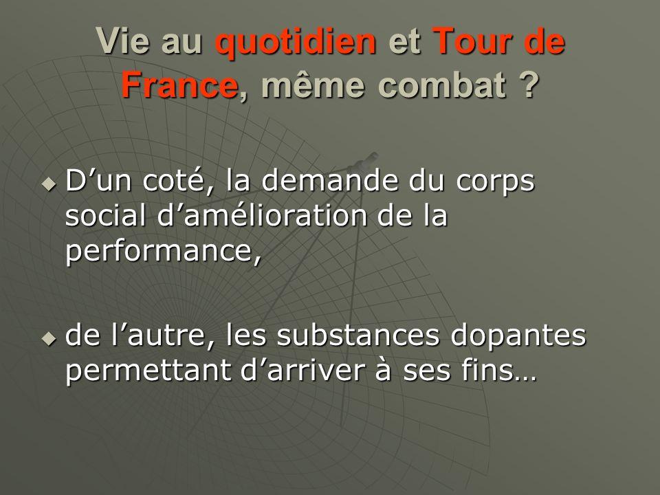 Vie au quotidien et Tour de France, même combat ? Dun coté, la demande du corps social damélioration de la performance, Dun coté, la demande du corps