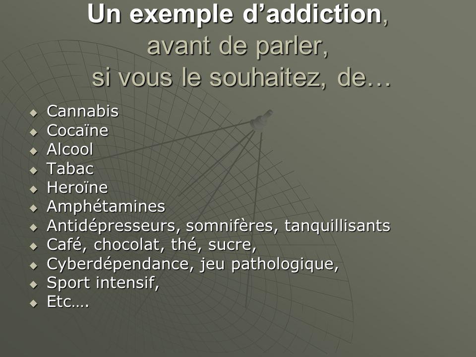 Un exemple daddiction, avant de parler, si vous le souhaitez, de… Cannabis Cannabis Cocaïne Cocaïne Alcool Alcool Tabac Tabac Heroïne Heroïne Amphétam