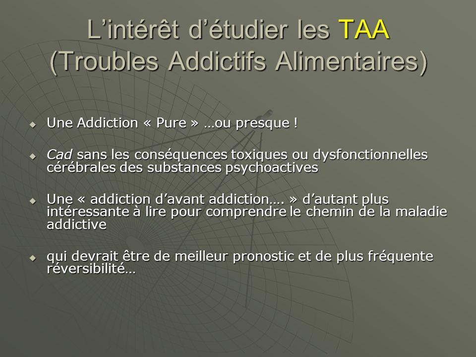 Lintérêt détudier les TAA (Troubles Addictifs Alimentaires) Une Addiction « Pure » …ou presque ! Une Addiction « Pure » …ou presque ! Cad sans les con