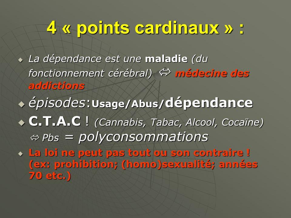 4 « points cardinaux » : La dépendance est une maladie (du fonctionnement cérébral) médecine des addictions La dépendance est une maladie (du fonction
