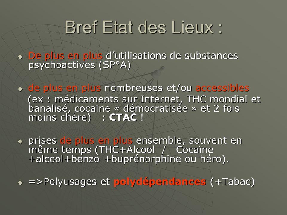 Bref Etat des Lieux : De plus en plus dutilisations de substances psychoactives (SP°A) De plus en plus dutilisations de substances psychoactives (SP°A