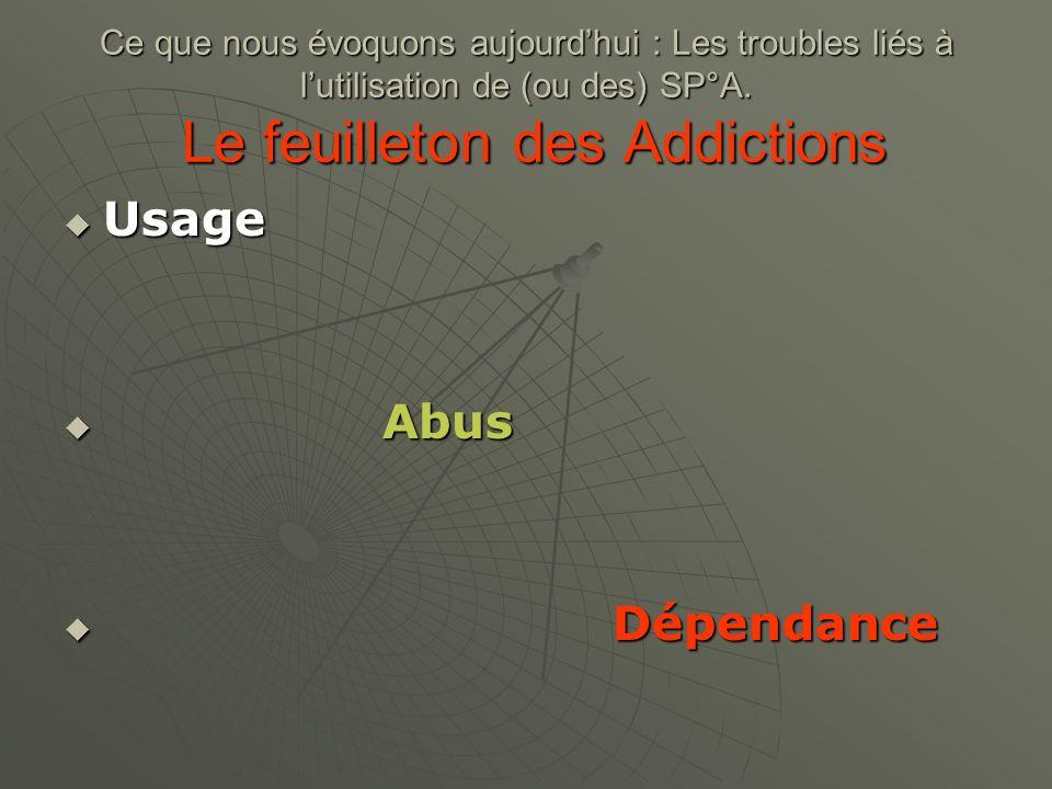 Ce que nous évoquons aujourdhui : Les troubles liés à lutilisation de (ou des) SP°A. Le feuilleton des Addictions Usage Usage Abus Abus Dépendance Dép