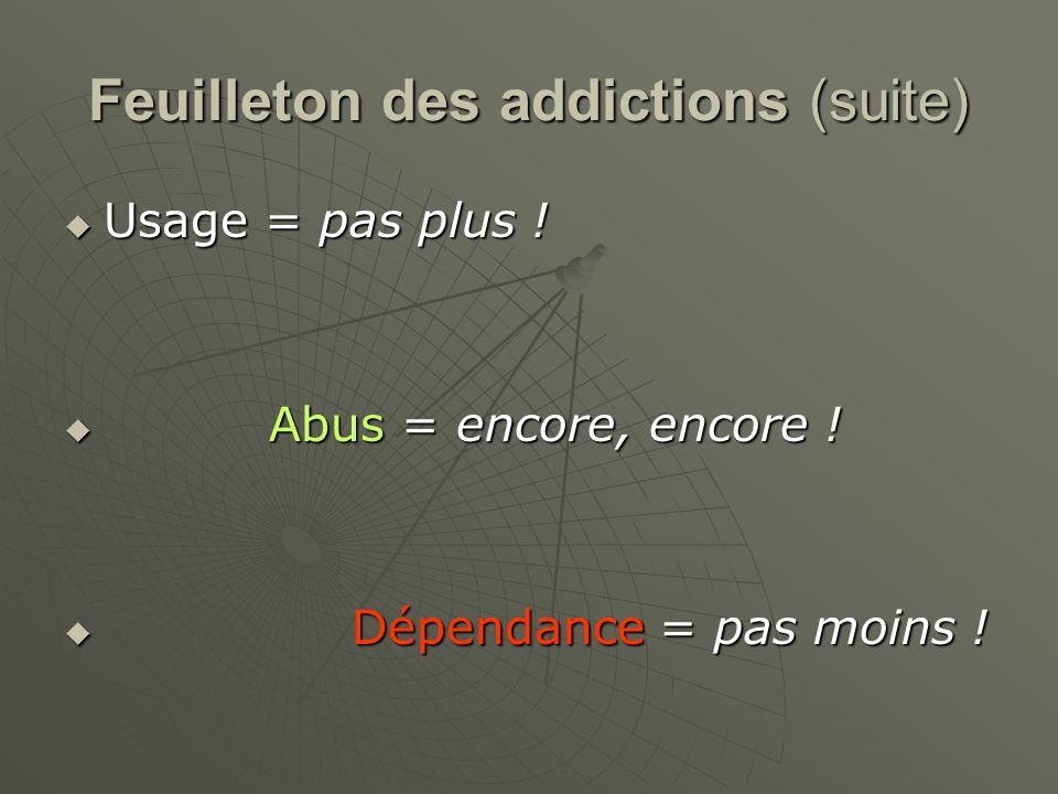 Feuilleton des addictions (suite) Usage = pas plus ! Usage = pas plus ! Abus = encore, encore ! Abus = encore, encore ! Dépendance = pas moins ! Dépen