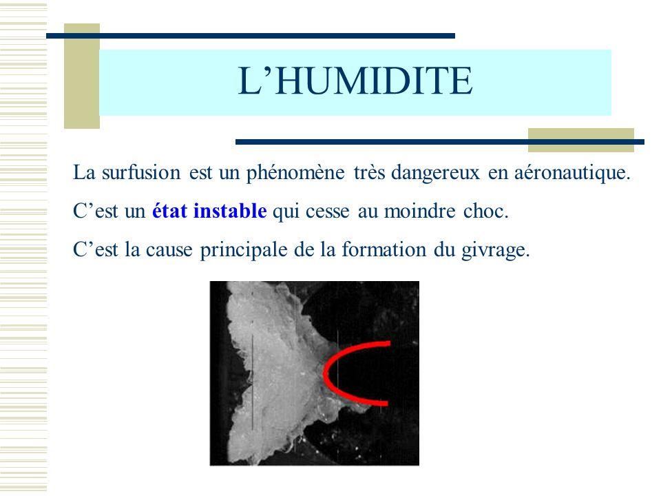 LHUMIDITE La surfusion est un phénomène très dangereux en aéronautique. Cest la cause principale de la formation du givrage. Cest un état instable qui