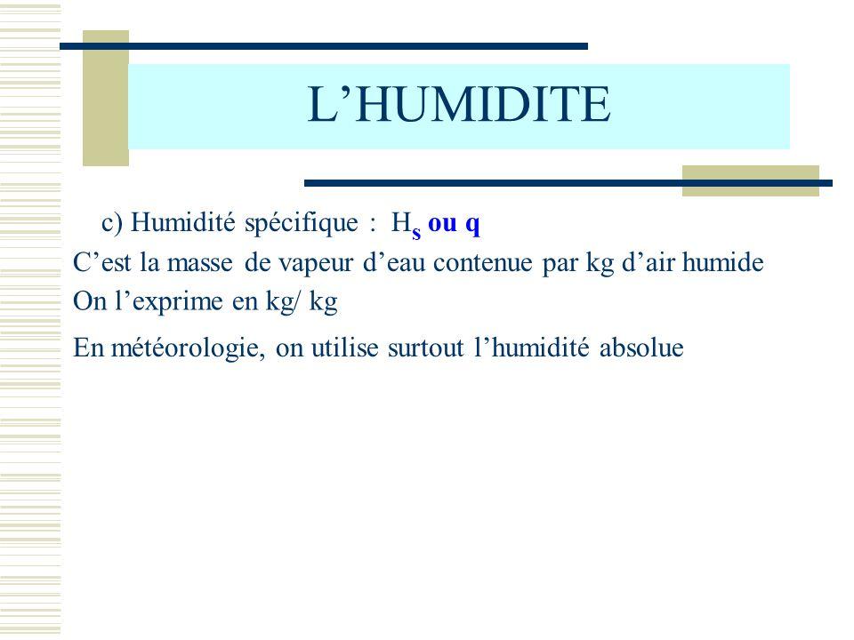 LHUMIDITE c) Humidité spécifique : H s ou q Cest la masse de vapeur deau contenue par kg dair humide On lexprime en kg/ kg En météorologie, on utilise