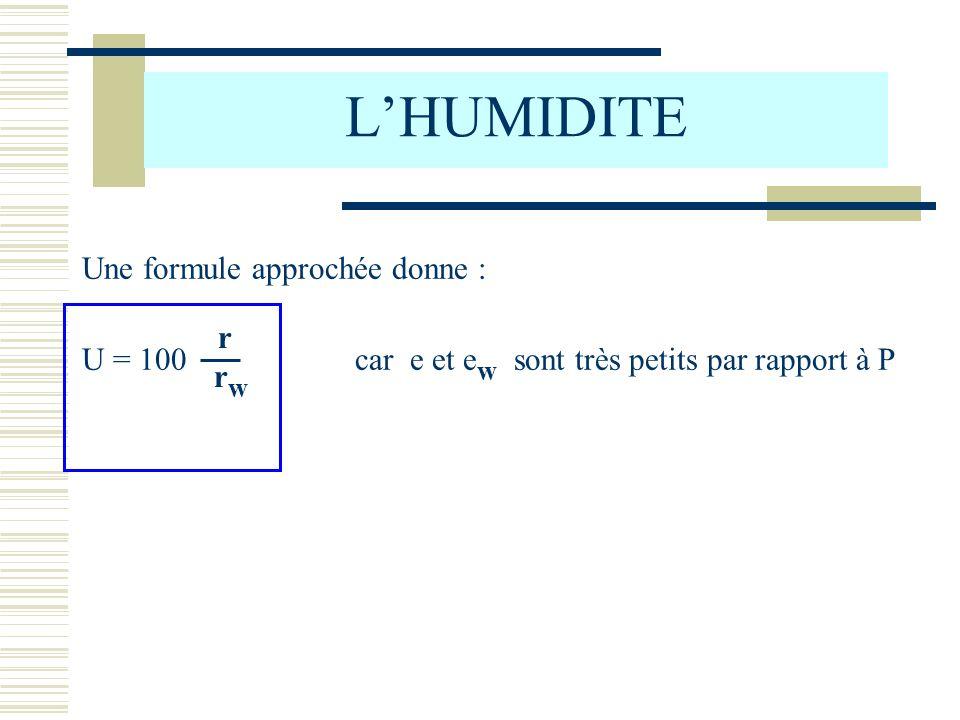 LHUMIDITE Une formule approchée donne : U = 100 car e et e w sont très petits par rapport à P r r w