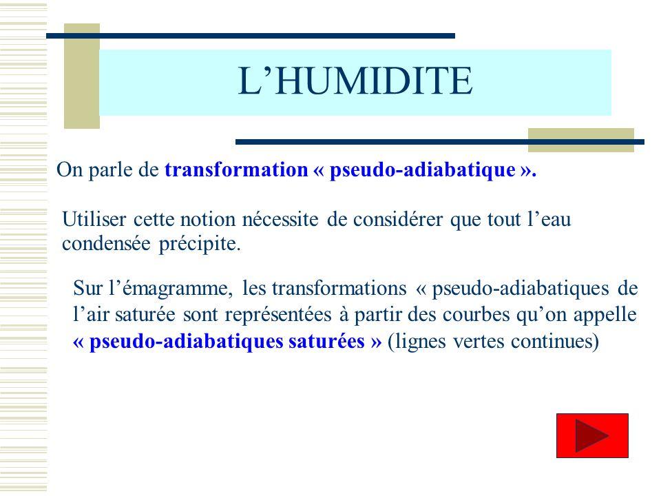LHUMIDITE On parle de transformation « pseudo-adiabatique ». Utiliser cette notion nécessite de considérer que tout leau condensée précipite. Sur léma