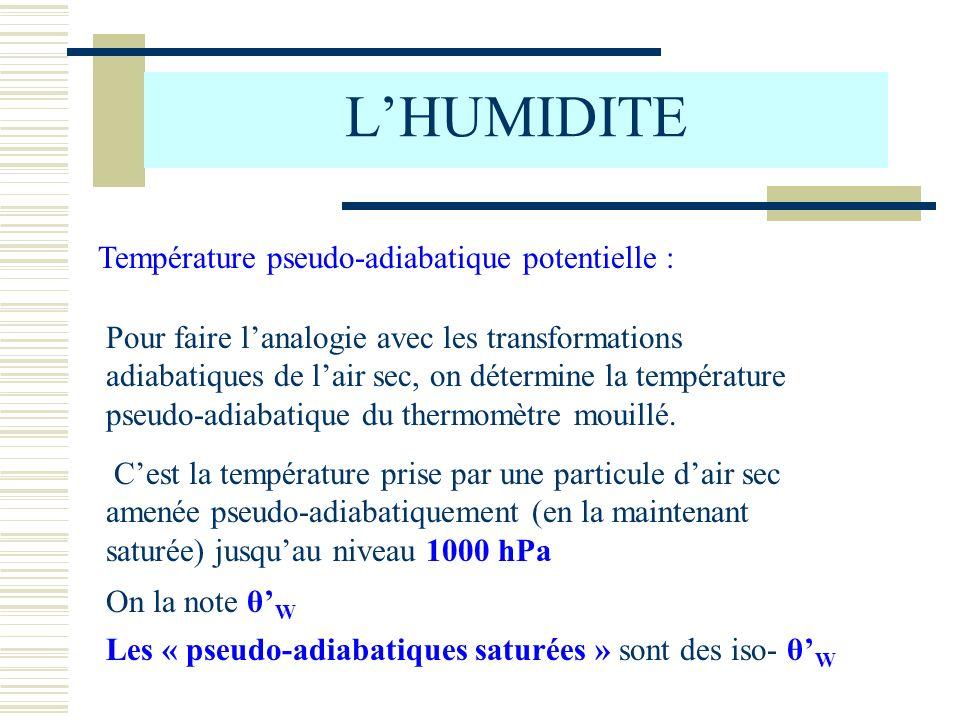 Température pseudo-adiabatique potentielle : Pour faire lanalogie avec les transformations adiabatiques de lair sec, on détermine la température pseud