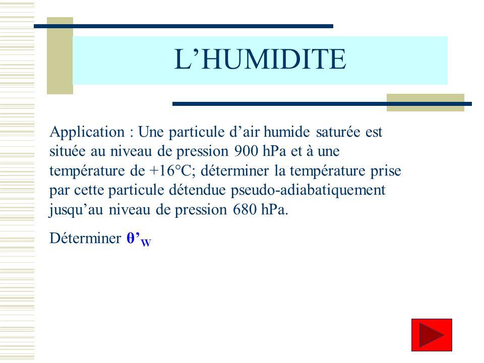 Application : Une particule dair humide saturée est située au niveau de pression 900 hPa et à une température de +16°C; déterminer la température pris